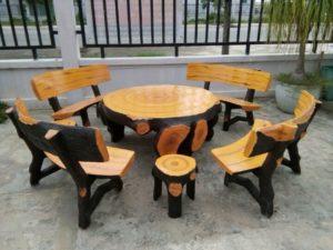 Bàn ghế ăn bằng đá giả gỗ GDGG-50