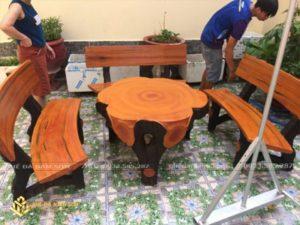bộ bàn ghế đá tròn 2