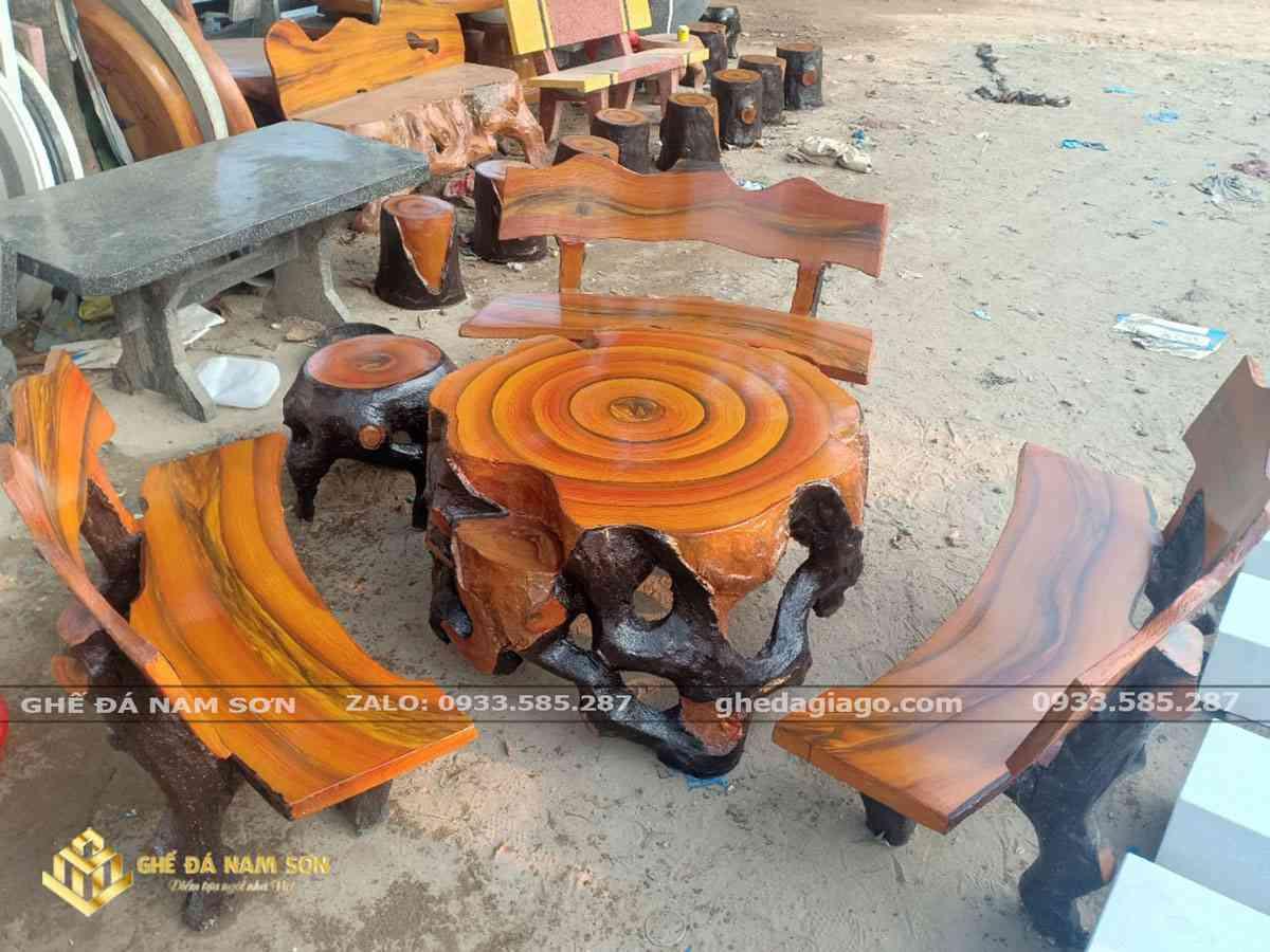 Xưởng sản xuất Bộ bàn ghế xi măng giả gỗ của ghế đá Nam Sơn