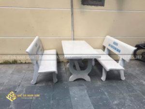 ghế đá nam sơn bán bàn ghế đá màu trắng